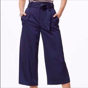 Loft Navy Blue Wide Leg Crop Pants Culottes